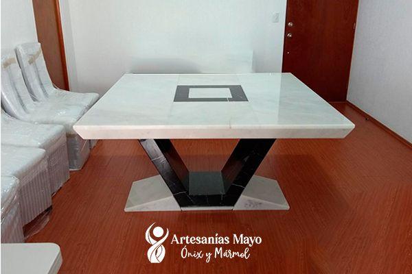 comedor de mármol blanco de 8 sillas
