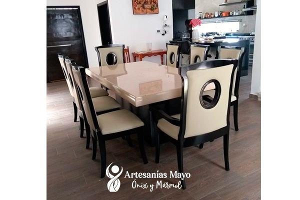 comedor de mármol y madera 8 sillas