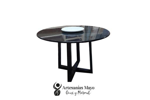 comedor redondo de mármol negro Querétaro 4 sillas