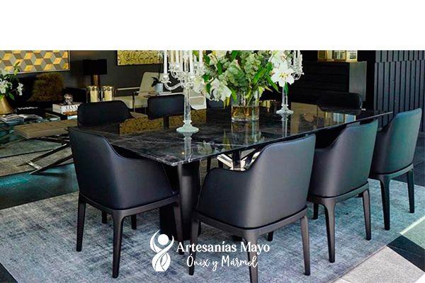 comedor de mármol negro 8 sillas