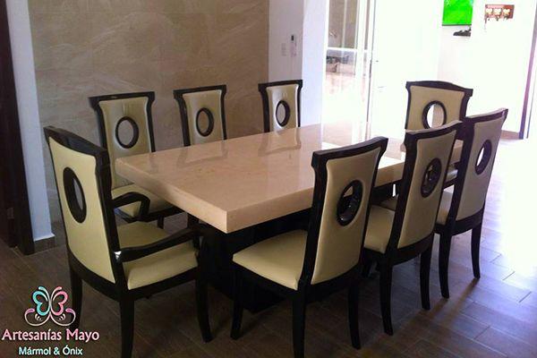 comedor de mármol y madera para 8 sillas