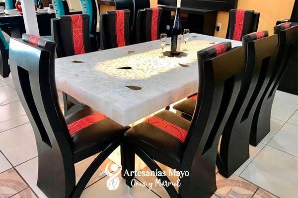 comedor de ónix blanco con flores de 8 sillas