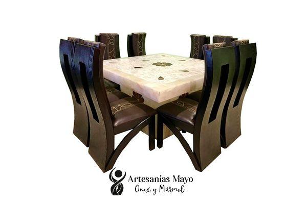 comedor de ónix blanco para 8 sillas