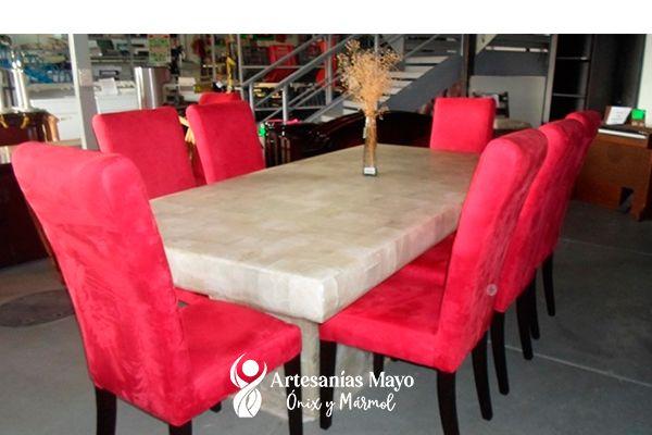 comedor de ónix blanco 6 sillas con base ónix