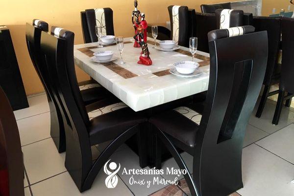 comedor de ónix blanco y chocolate de 6 sillas