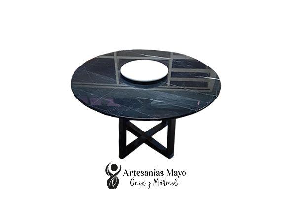 comedor redondo de 4 sillas en mármol negro Querétaro