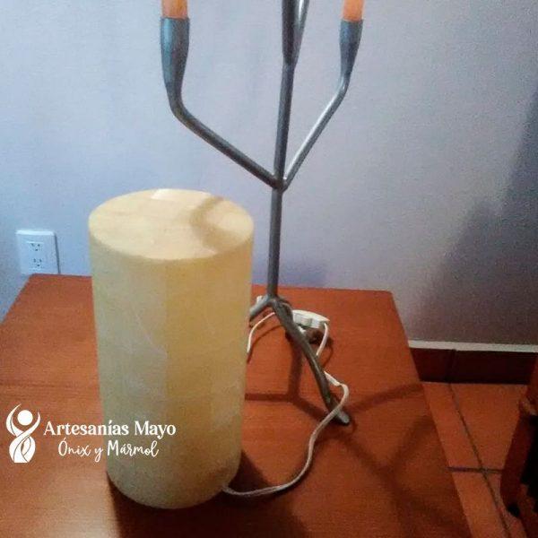 lampara de onix cilindro blanco