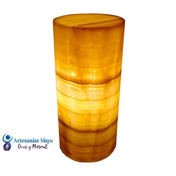 lampara de onix naranja en forma de cilindro