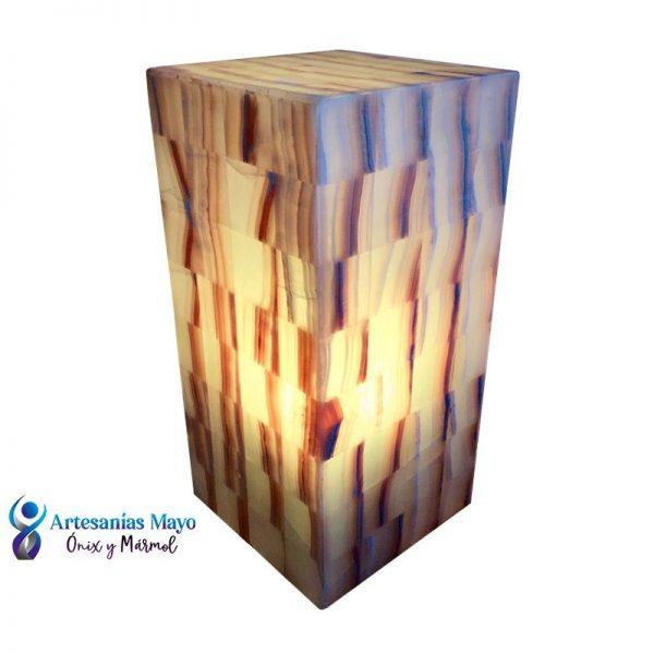 lámpara de ónix rectangular para buró