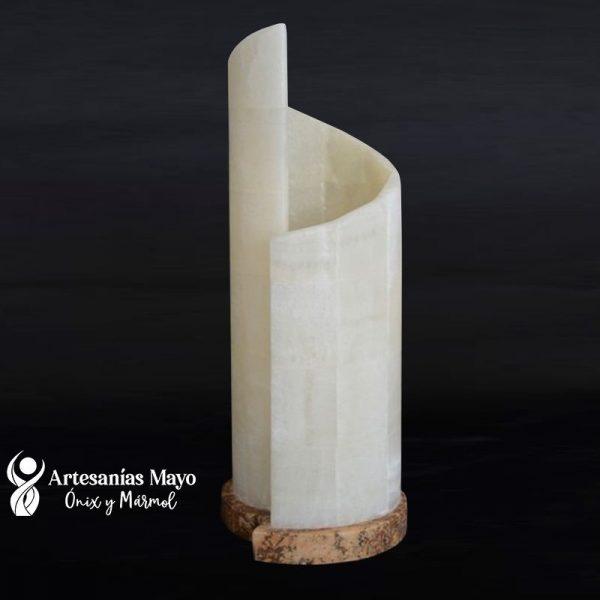 lámpara caracol de ónix blanco