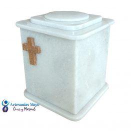 urna funeraria de mármol blanco para cenizas