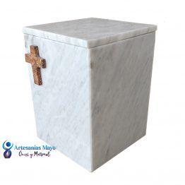 urna para cenizas de mármolo blanco bego
